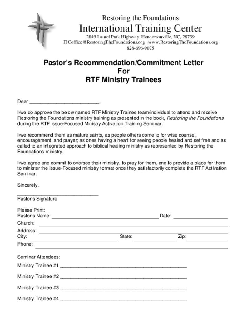 thumbnail of Pastor Recommendation Letter